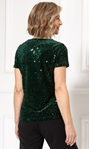 Anna Rose Sequin Velour Short Sleeve Top Green - Gallery Image 2