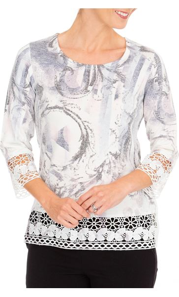 Anna Rose Embellished Print Knit Top Ivory/Dusty Pink