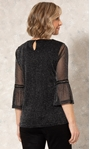 Anna Rose Glitter Mesh Top With Necklace Black/Silver - Gallery Image 2
