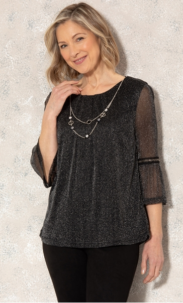 Anna Rose Glitter Mesh Top With Necklace Black/Silver