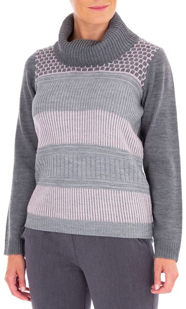 Anna Rose Cowl Neck Knit Top Grey/Dusty Pink