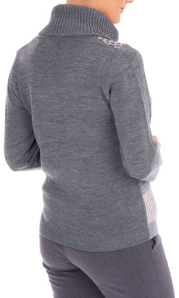 Anna Rose Cowl Neck Knit Top Grey/Dusty Pink - Gallery Image 2