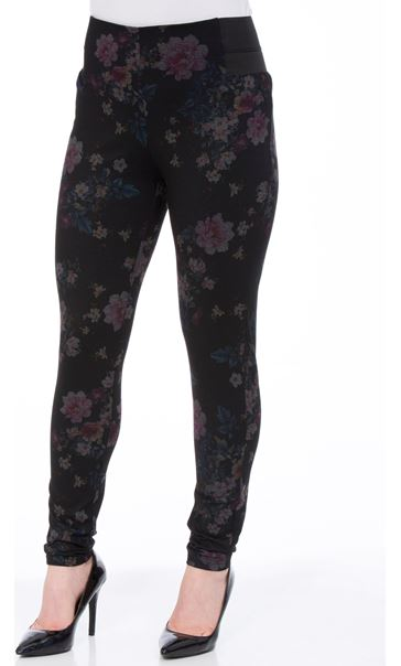 Floral Ponte Pull On Fitted Trousers Black