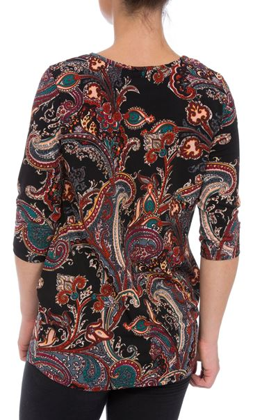 Three Quarter Sleeve Paisley Top With Hip Detail Black/Multi - Gallery Image 2