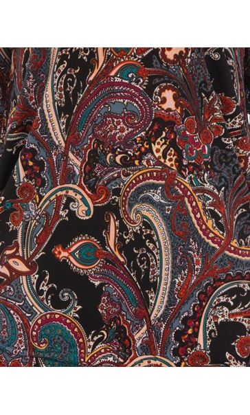 Three Quarter Sleeve Paisley Top With Hip Detail Black/Multi - Gallery Image 3