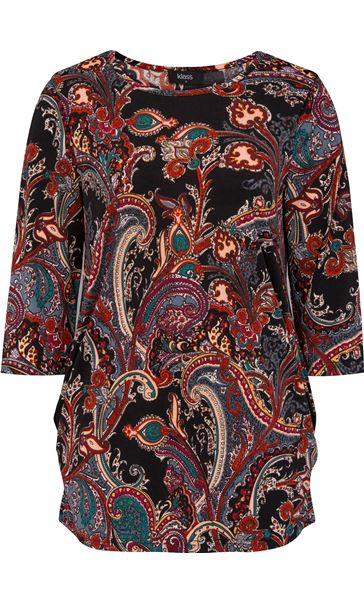 Three Quarter Sleeve Paisley Top With Hip Detail Black/Multi - Gallery Image 4