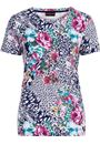 Anna Rose Printed Jersey Top Navy/Pink - Gallery Image 4