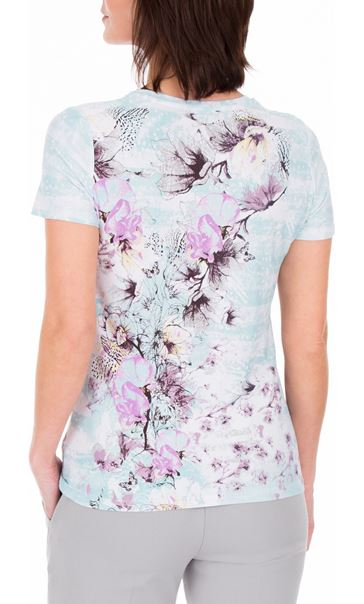 Anna Rose Floral Print Round Neck Jersey Top Aqua/Lilac - Gallery Image 2