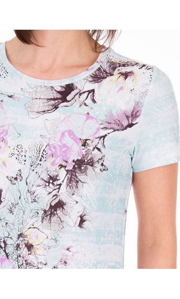 Anna Rose Floral Print Round Neck Jersey Top Aqua/Lilac - Gallery Image 3