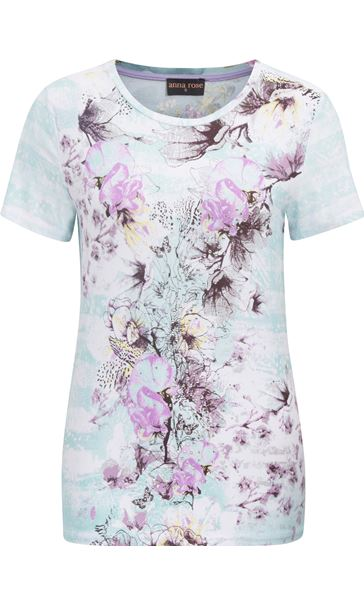 Anna Rose Floral Print Round Neck Jersey Top Aqua/Lilac - Gallery Image 4
