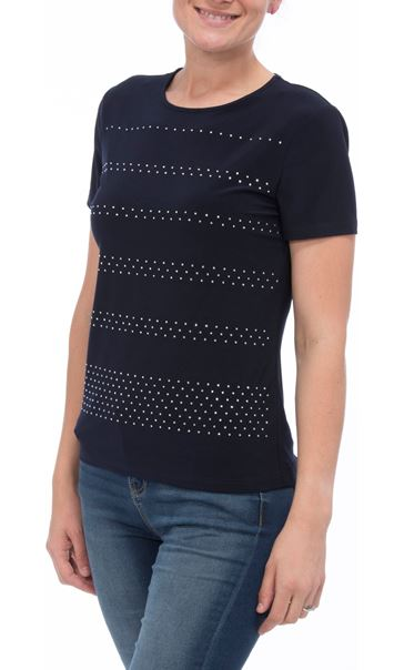 Anna Rose Embellished Short Sleeve Top Navy