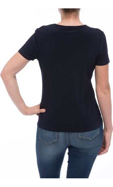 Anna Rose Embellished Short Sleeve Top Navy - Gallery Image 2