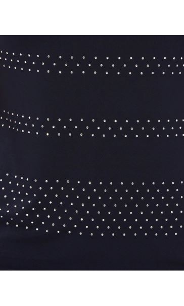 Anna Rose Embellished Short Sleeve Top Navy - Gallery Image 3