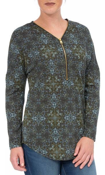 Printed Brushed Knit Long Sleeve Tunic Taupe/Sky Blue
