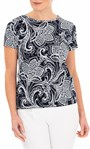 Anna Rose Textured Print Stretch Top Navy/Ivory - Gallery Image 1