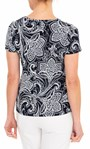Anna Rose Textured Print Stretch Top Navy/Ivory - Gallery Image 2