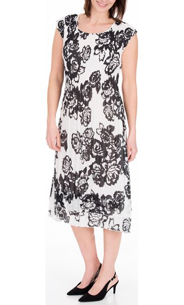 Anna Rose Double Layered Pleat Midi Dress Black/Ivory