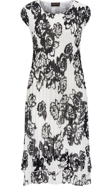 Anna Rose Double Layered Pleat Midi Dress Black/Ivory - Gallery Image 2