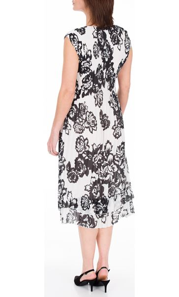 Anna Rose Double Layered Pleat Midi Dress Black/Ivory - Gallery Image 3