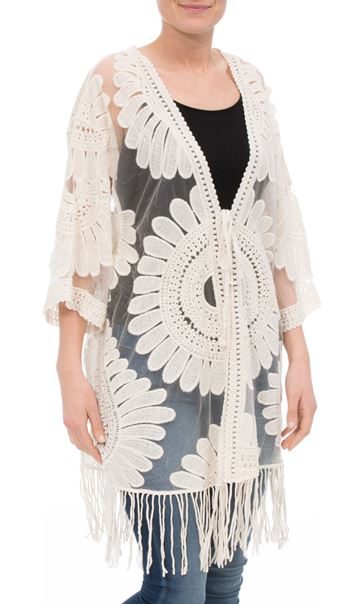 Embroidered Mesh Cover Up Sand