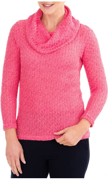 Anna Rose Shimmer Textured Cowl Neck Knit Top Pink