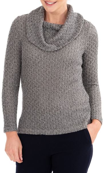 Anna Rose Shimmer Textured Cowl Neck Knit Top Grey