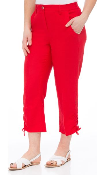 Anna Rose Linen Blend Cropped Trousers Poppy