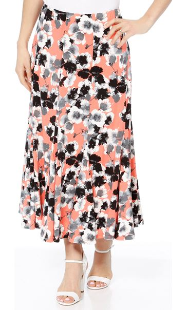 Anna Rose Panelled Floral Midi Skirt Coral/Grey