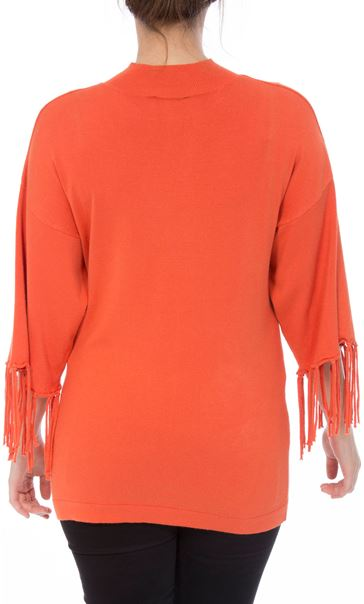 Tassel Cuff Knitted Top Tangerine - Gallery Image 2