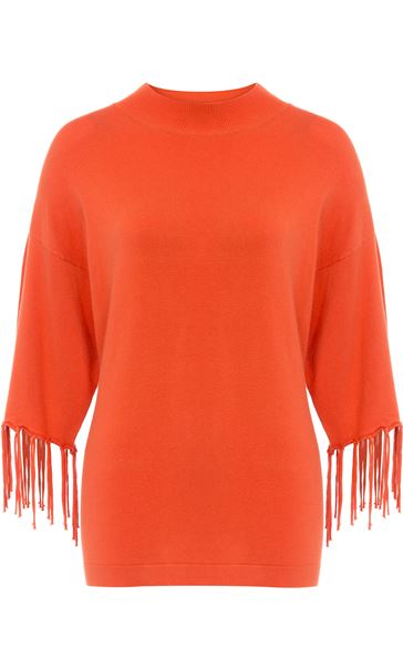 Tassel Cuff Knitted Top Tangerine - Gallery Image 4