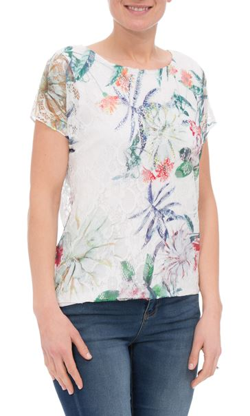 Anna Rose Printed Lace Layer Top Garden
