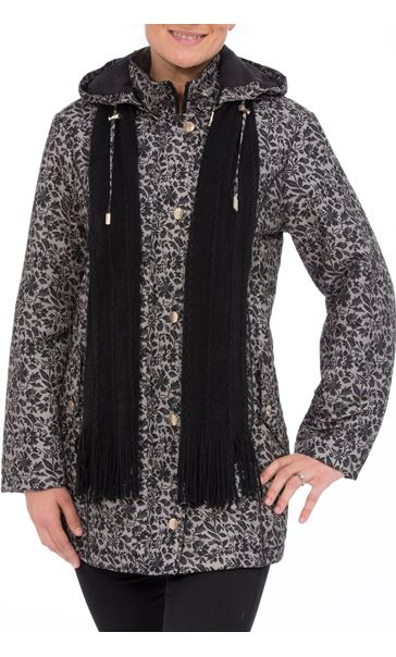 Anna Rose Floral Printed Scarf Coat Taupe/Black