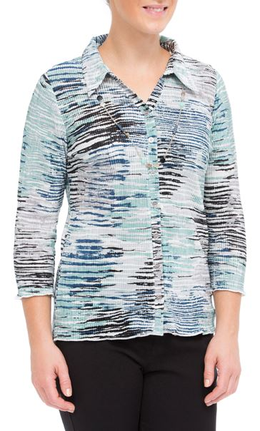 Anna Rose Printed Pleat Blouse With Necklace Navy/Aqua/Grey