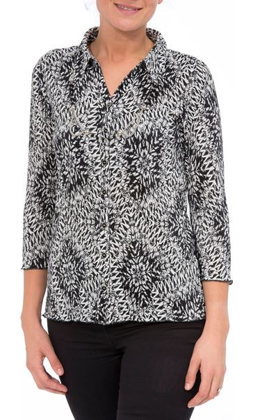 Anna Rose Pleated Top With Necklace Black/Grey/White