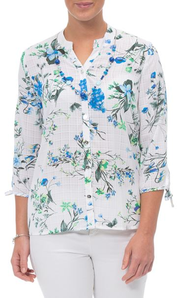 Anna Rose Floral Blouse With Necklace White/Green