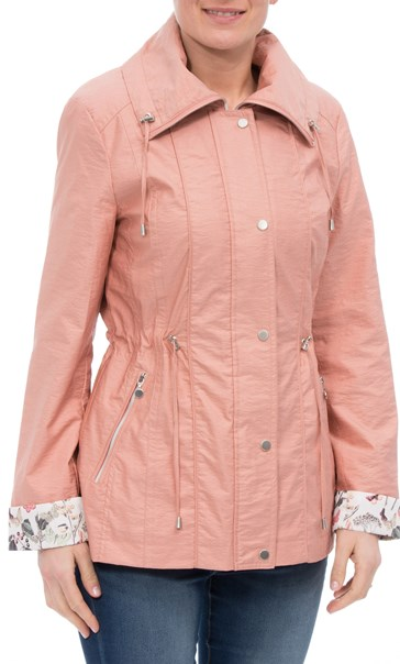 Anna Rose Lightweight Printed Cuff Coat Peach