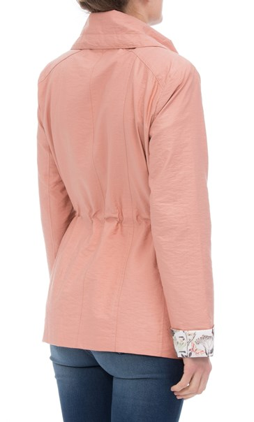 Anna Rose Lightweight Printed Cuff Coat Peach - Gallery Image 2