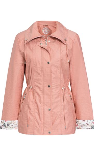Anna Rose Lightweight Printed Cuff Coat Peach - Gallery Image 4