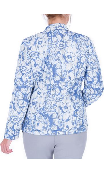 Anna Rose Floral Print Zip Coat Blue - Gallery Image 2