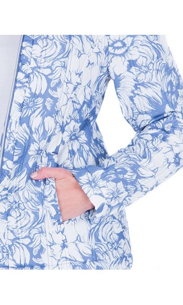 Anna Rose Floral Print Zip Coat Blue - Gallery Image 4