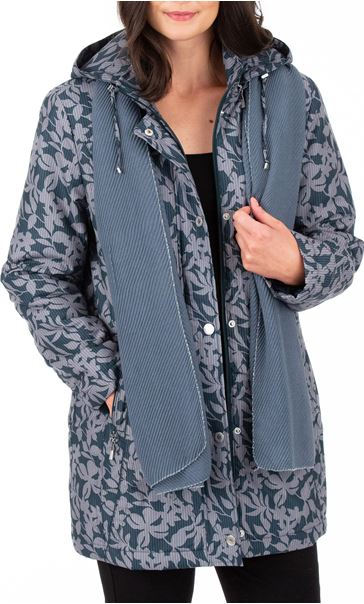 Anna Rose Printed Coat With Scarf Fir Green