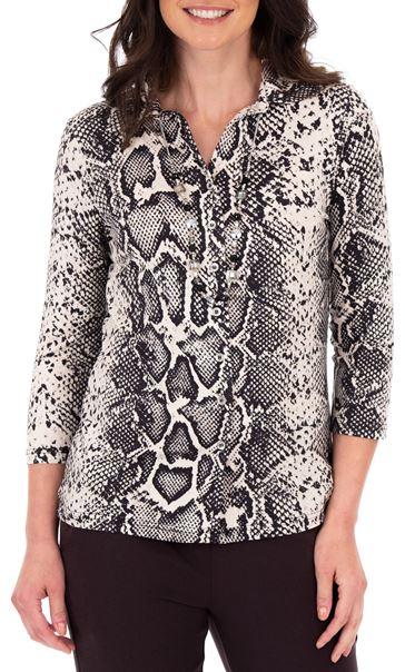Anna Rose Snake Print Blouse With Necklace Black/Ecru
