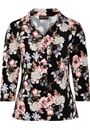 Anna Rose Floral Printed Jersey Blouse With Necklace Black/Dusty Pink - Gallery Image 3