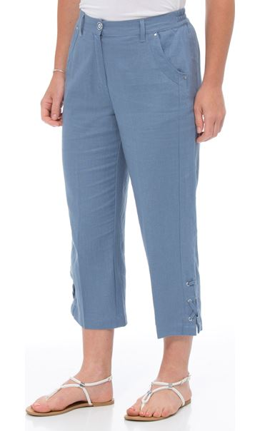 Anna Rose Cropped Linen Blend Trousers Powder Blue