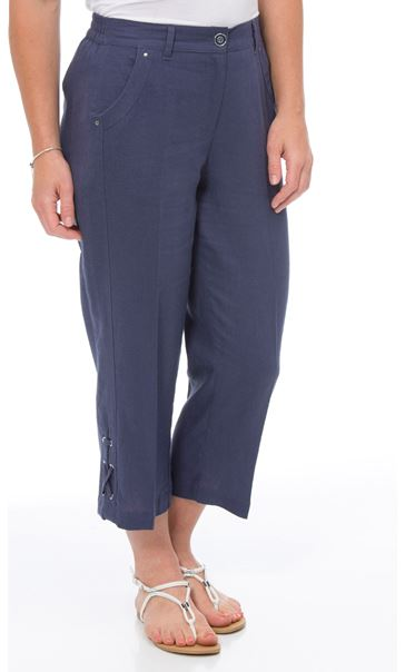 Anna Rose Cropped Linen Blend Trousers Navy - Gallery Image 1