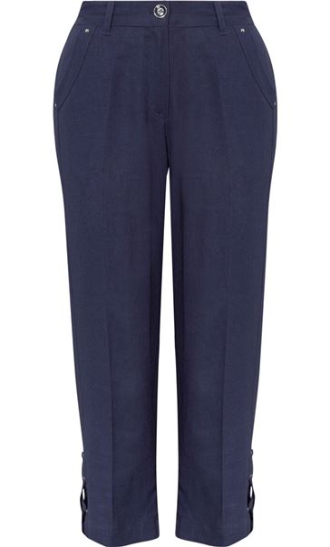Anna Rose Cropped Linen Blend Trousers Navy - Gallery Image 3