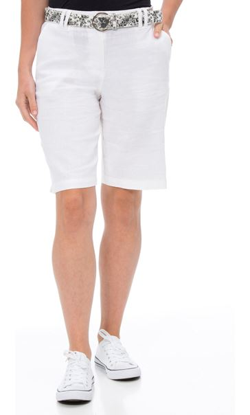Anna Rose Belted Linen Blend Shorts White
