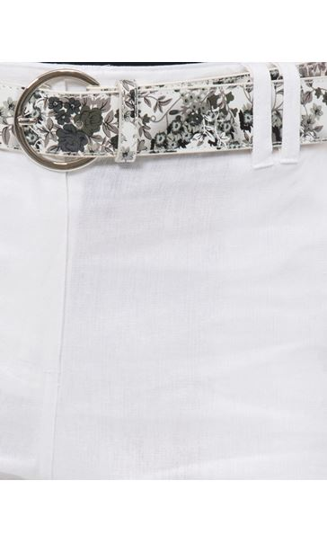 Anna Rose Belted Linen Blend Shorts White - Gallery Image 4