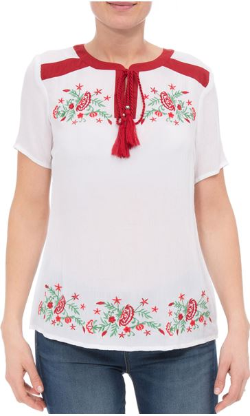 Anna Rose Embroidered Tassel Top White/Multi