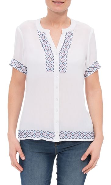 Anna Rose Embroidered Crinkle Blouse White